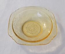 """MADRID AMBER YELLOW DEPRESSION GLASS SAUCE BOWL 5"""" FEDERAL GLASS CO"""