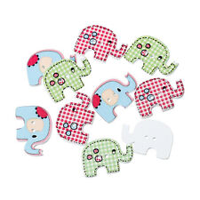 25 Funky Mixed Elephant shaped Wood Sewing Buttons  Craft scrapbook