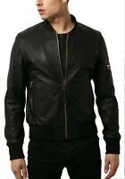 NOORA Black Leather Jacket Men Bomber Pure Lambskin Size XS S M L XL XXL NEW