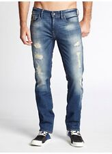 Guess Robertson All Around Slim Tapered Jeans In Armada Destroy Wash Size 34