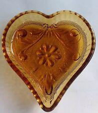 Vintage Heart Dish Tiara Indiana Amber Sandwich Glass FREE SHIPPING