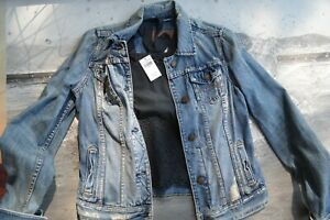 Abercrombie & Fitch Distressed Denim Jean Jacket Size Medium and blouse included