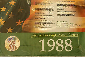 1988 AMERICAN EAGLE SILVER DOLLAR / 1 oz FINE SILVER COLLECTIBLE