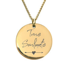 Small Soulmate 18k Gold Plated Laser Engraved Pendant Necklace for Women