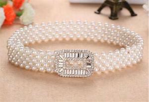 Women's Elastic Waist Belt Chain Lady Faux-pearl Stretch Waistband Dress Belt