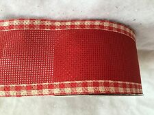 1m x Red Gingham Hessian Wide Wired Ribbon Christmas Cake Gisela Graham