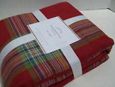 Pottery Barn Red Multi Colors Blake Plaid Full Queen Duvet Cover 1 KING Sham New