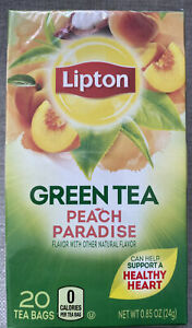 Lipton Green Tea Bags Peach Paradise 1 Box with 20 Tea Bags-EXP 1/2023