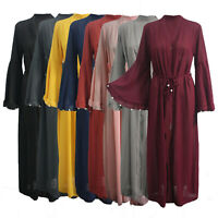 Womens Ladies Jilbab Bell Sleeve Pearls Long Maxi Belted Open Front Cardigan
