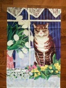 """Toland Outdoor Garden Flag Cat in Window Flowers 23""""W x 35""""L 2-Sided Made USA"""