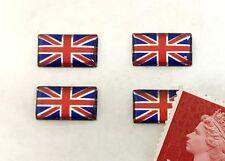 4 x Union Jack Flag Miniature Stickers Shiny Domed Finish 14mm Red Blue & Chrome