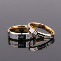 Forever love Steel titanium Couple Rings His and Her Promise Wedding Band Rings