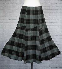 Per Una Black Tweed Skirt 10 Long Fishtail Flippy Brown & White Check Panel Cut