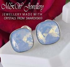 925 Silver Stud Earrings Fancy Stone Air Blue Opal 10mm Crystals From Swarovski®