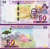 BOLIVIA 50 BOLIVIANOS 2018 NEW UNC