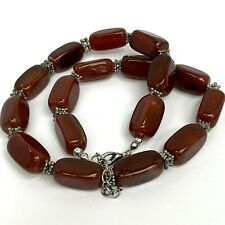 """Carnelian Agate Natural Beaded Red Necklace 18-19.75""""inch"""