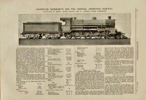 "1911 illustrated print  "" locomotive  "" argentine railway"