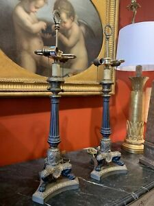 Pair of French Bronze and Ormolu Charles X Empire Style Candlestick Table Lamps