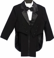 Boys Tailed Penguin Black Tuxedo suit Satin fancy wedding Bow tie vest pants
