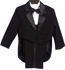 Boys Tailed Penguin Black Tuxedo suit Satin fancy wedding Bow tie vest pants