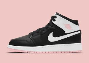 Nike Air Jordan 1 Mid Retro GS BLACK ARCTIC PINK WHITE HOT PUNCH TOE 555112-061
