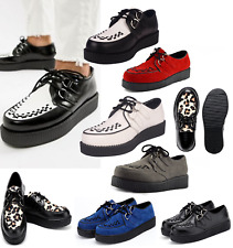 Mens Genuine Suede Leather Flat Platform Teddy Boy Goth Punk Creepers Shoes Size