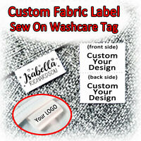 Custom Labels for Clothing Sew Handmade Business Text Logo Soft Satin Ribbon Tag