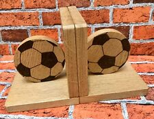 Hand Crafted Solid Chunky Pair of Football Bookends Personalised Footballer Book
