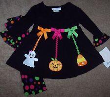 NWT Bonnie Jean Black HALLOWEEN Dress Top/Leggings Lot 18M GHOST PUMPKIN CANDY