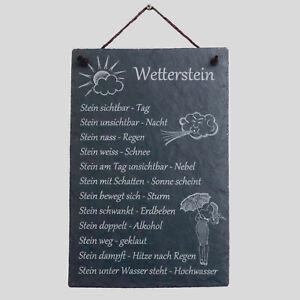 Schiefer Wetterstein Wetterstation Wetterschild Garten ca.30x20 cm Gravur
