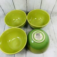 "Bobby Flay Ombre LIME GREEN Set 4 Soup Cereal Bowls STONEWARE 8 1/2"" Preowned"