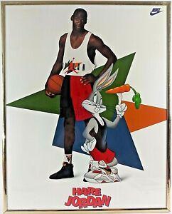 """Michael Jordan """"Hare Jordan"""" VTG ORIGINAL 16X20 Framed Poster 1992 Nike MINT"""