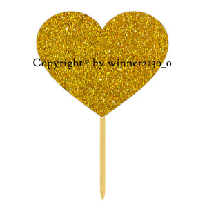 Sparkling Premium Double Sided Glitter HEART GOLD Cupcake Cake Topper Wedding