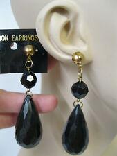 Teardrop Faceted Drop Dangle Pierced Earrings Vtg New Large Gold & Black Lucite