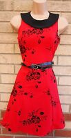 QUIZ RED BLACK VELVET BELTED FLORAL SKATER FLIPPY PARTY EVENING TEA DRESS 10 S