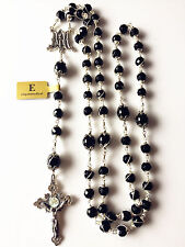 Sterling Silver Catholic Rosary Bead Cross black agate Necklace MENS Gift Box