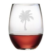 Stemless Wine Glasses Palm Tree Design Set/4 Hand Etched Glassware Gifts