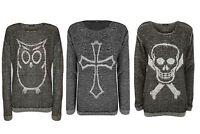 Womens Ladies Charcoal Owl Skull Bones Cross X Print Sweater Top Knitted Jumper