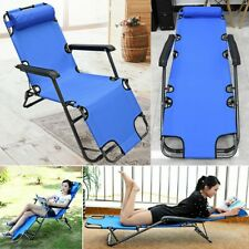 Metal Folding Chaise Lounge Chair Patio Garden Pool Beach Lawn Recliner Yard