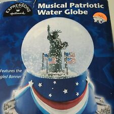 Patriotic Hallmark Statue Of Liberty Snow Music Globe Star Spangled Banner
