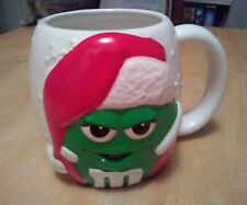 Preowned Galerie Mars Green M&M M & M Christmas Collector Ceramic Oversized Mug