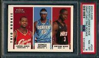 2003 Fleer Trio Rookie Lebron James Carmelo Anthony Dwyane Wade PSA 8 Tradition
