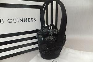 Lulu Guinness Genuine Collectable Black Victorian PicnicRose Basket Bag BNWT