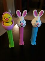 Rabbits With Blue and Pink Stems & Chick with Green Stem Pez Dispensers