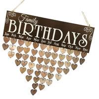 Family Birthdays Reminder Calendar Wooden Board Plaque Sign Hanging Decor