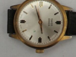 a gents stainless steel cased manual wind swiss banca watch -working
