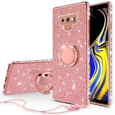 Samsung Galaxy Note 9 Glitter Bling Phone Case Girls Ring Kickstand Rose Gold