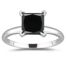 .925 Sterling Silver Ring Size 7 3.53ct Black Color Real Moissanite Princess