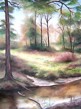 SCA ART ORIGINAL CANVAS PAINTING BY SARAH FEATHERSTONE, THE NEW FOREST,RIVERSIDE