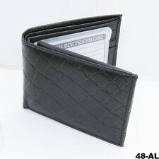 CROCO CROC PRINT EMBOSS BIFOLD FLAP CARD MEN'S  WALLET COWHIDE LEATHER BLACK